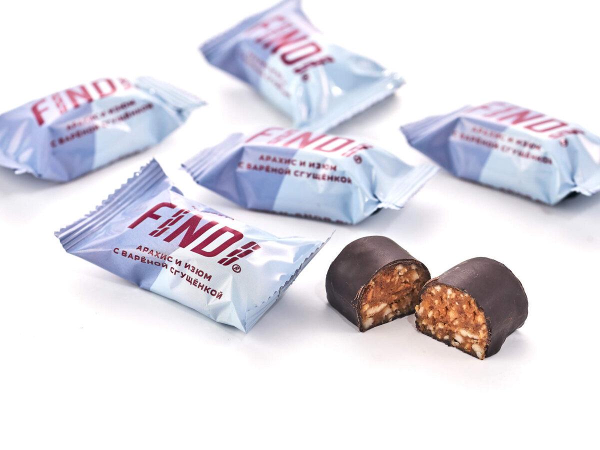 Конфеты FINDI арахис и изюм с варёной сгущёнкой в шоколадной глазури - фото 2